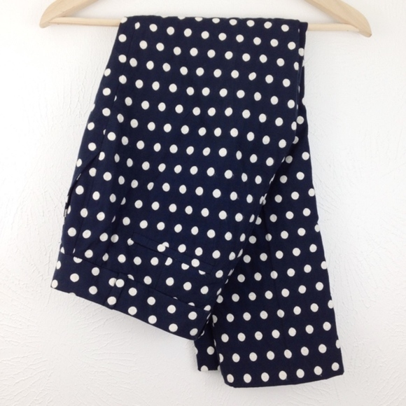 Banana Republic Pants - Banana Republic Hampton Fit, Navy Polka Dot Crops